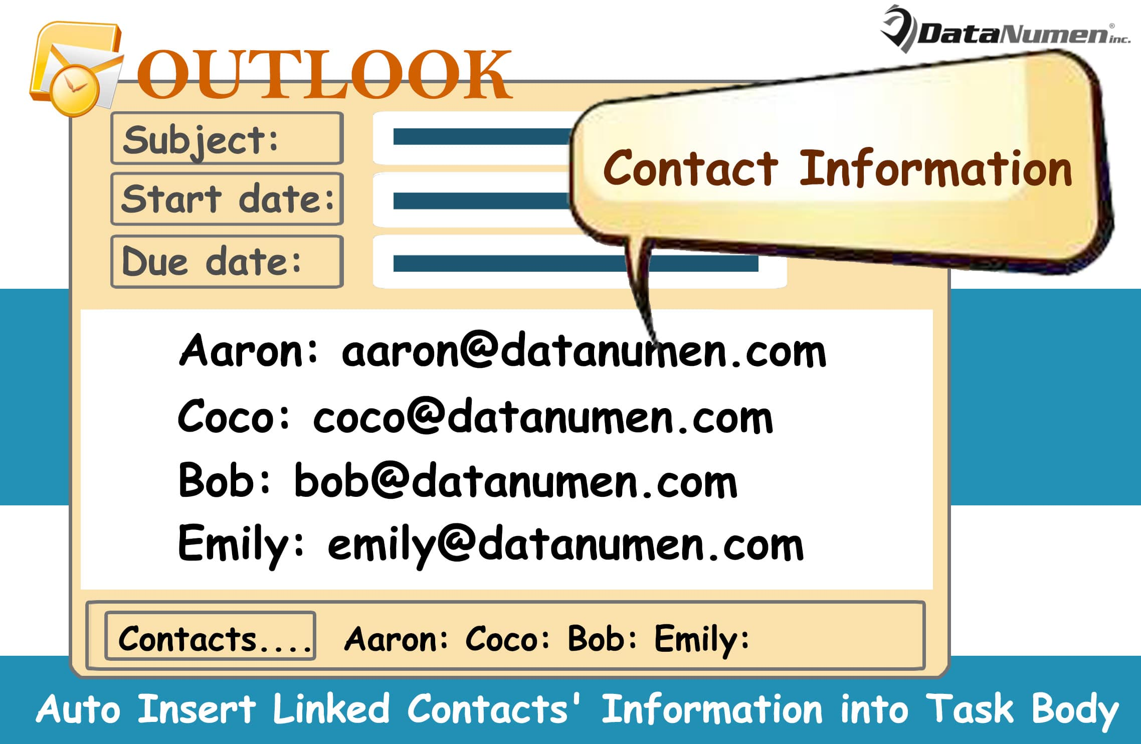 Auto Insert the Linked Contacts' Information into the Body of an Outlook Task