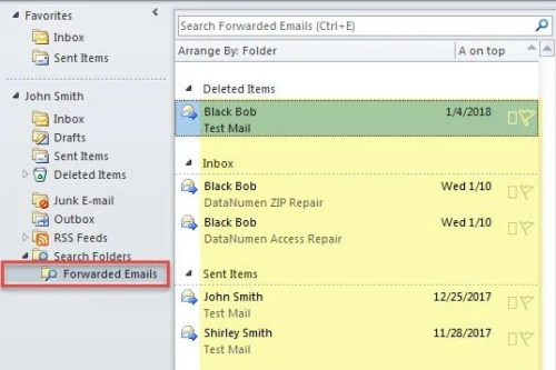 Forwarded Emails in Search Folder
