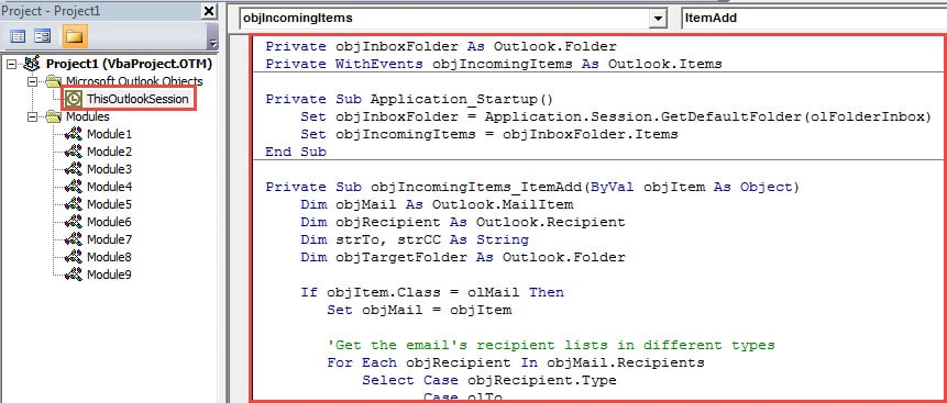 VBA Code - Auto Classify Incoming Emails as Per Which Type of Recipient You Are