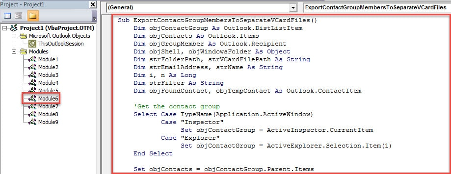 VBA Code - Export All Members of a Contact Group to Separate vCard Files