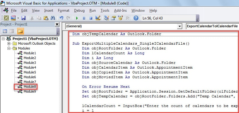 VBA Code - Merge & Export Multiple Calendars to a Single iCalendar (.ics) File