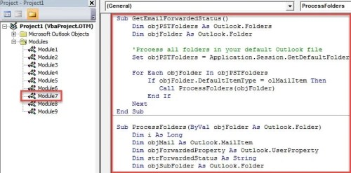 VBA Code - Get All Emails' Forwarded Status