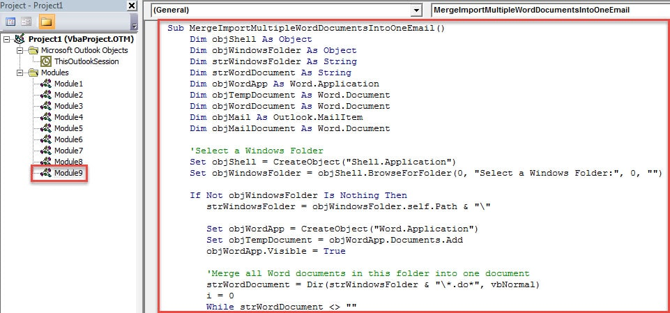 VBA Code - Merge & Import Multiple Word Documents to One Email