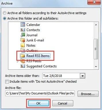 Archive Items in New Folder