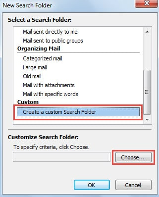 create a custom search folder