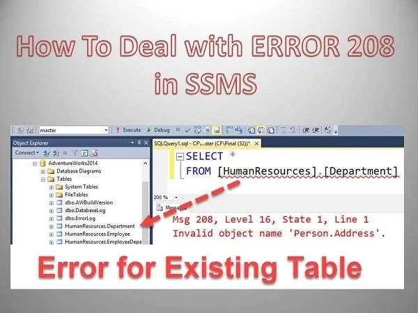 Dealing With Database Context Error 208 In SQL Server