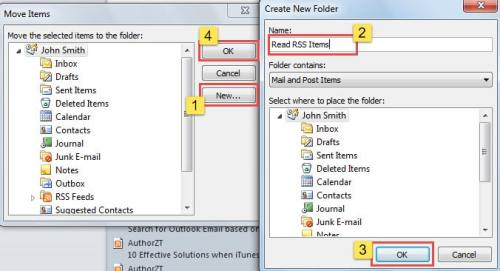Create a New Folder for Found RSS Items