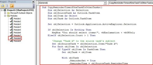 VBA Code - Batch Apply the Reminder Time of a Task to Many Other Tasks