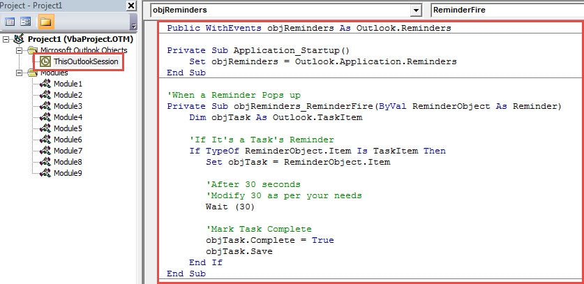 VBA Code - Auto Mark the Task of a Popup Reminder Complete after a Specific Time Period