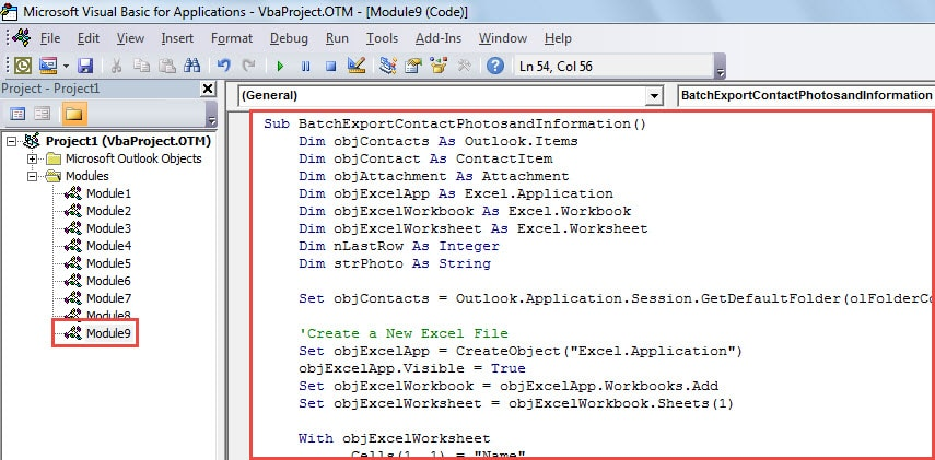 VBA Code - Batch Export Information and Photos of All Outlook Contacts to Excel