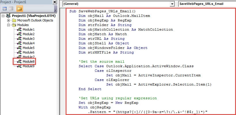 VBA Code - Save the Web Pages of All URLs in an Email to a Windows Folder