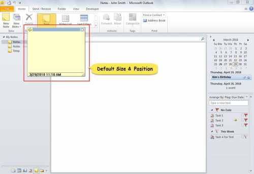 Default Size and Position of Note Window