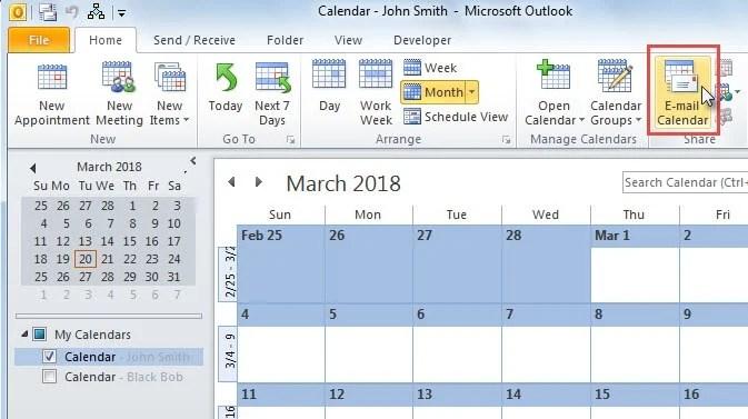 """Click """"E-mail Calendar"""""""