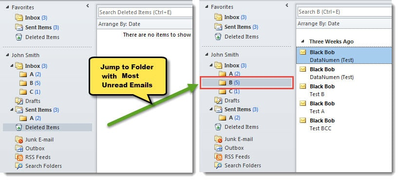 Jump to the Folder Containing the Most Unread Emails