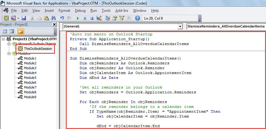 VBA Code - Auto Dismiss Reminders of Overdue Calendar Items when Starting Outlook