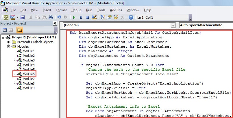 VBA Code - Auto Export the Attachment Information of Incoming Emails to Excel