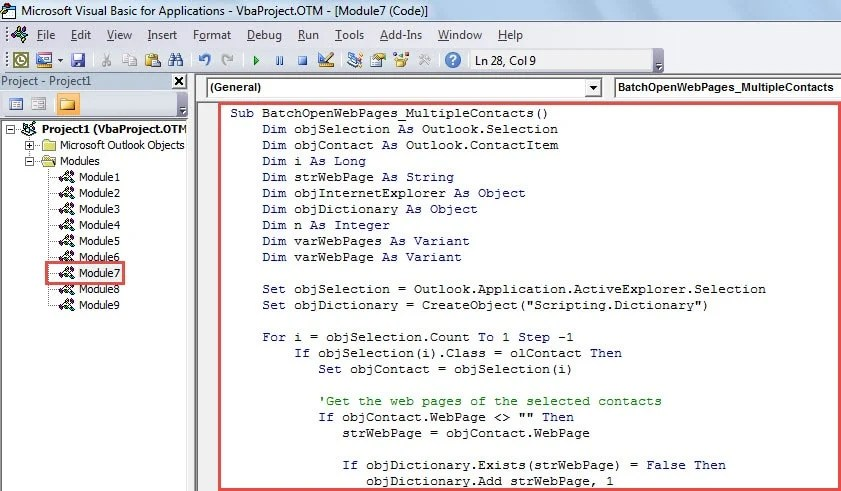 VBA Code - Batch Open the Web Pages of Multiple Contacts
