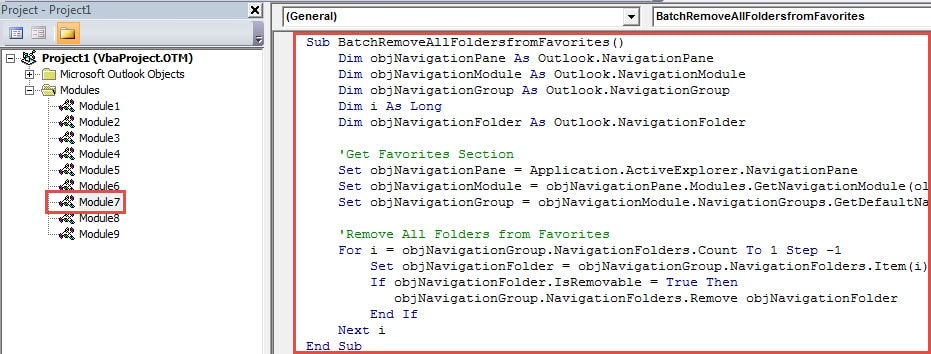 """VBA Code - Batch Remove All Folders from """"Favorites"""" Section"""