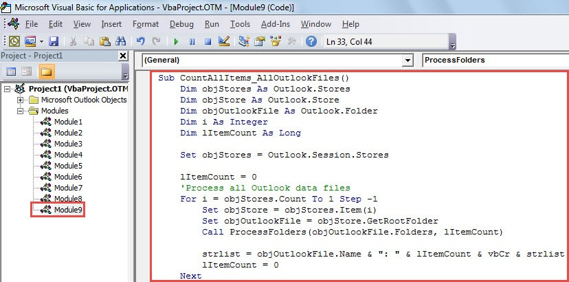 VBA Code - Quickly Count All Items in Each Outlook File