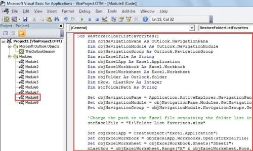 VBA Code - Restore Folder List of Favorites Section from an Excel Sheet
