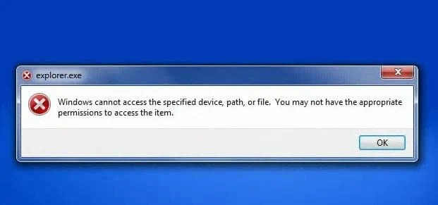 """""""Windows cannot access the specified device, path, or file"""" Error"""