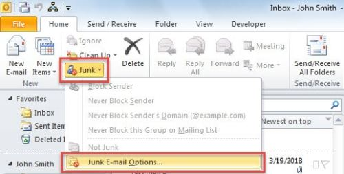 Inbuilt Anti-spam: Junk Email Options