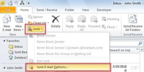 Inbuilt Anti-spam: Junk Email Options