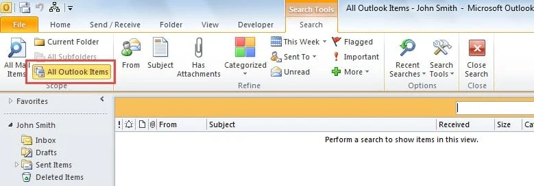 Search All Outlook Items