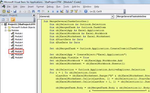 VBA Code - Merge Multiple Tasks into a Single One