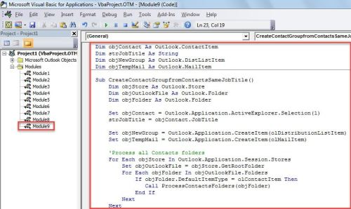 VBA Code - Create a Contact Group from All Contacts with a Specific Job Title