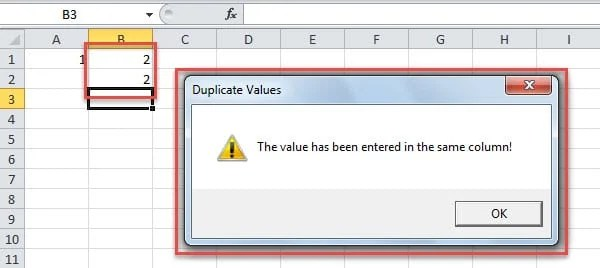 Custom Alert in Case of Duplicate Values in a Column