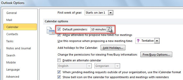 Default Reminder for Calendar Items