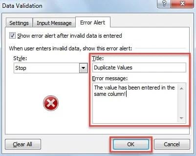 Specify Error Alert