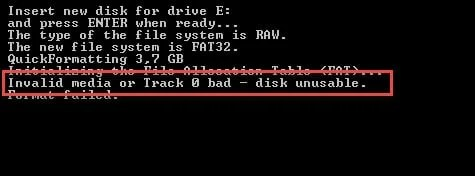 """Invalid media or Track 0 bad - disk unusable"" Error in Windows"