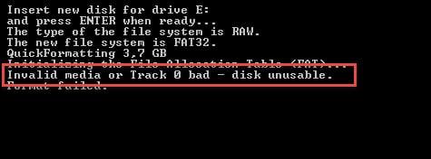"""Invalid media or Track 0 bad - disk unusable"" Error in Windows"