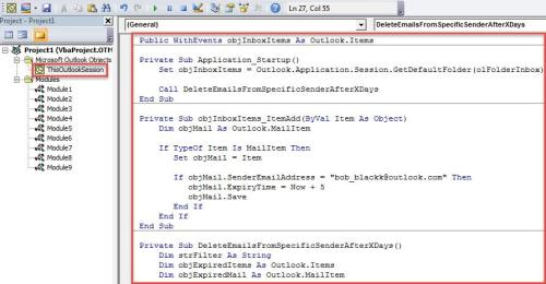 VBA Code - Auto Delete the Emails from a Specific Sender after Specific Days
