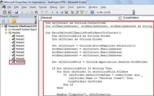 VBA Code - Batch Delete All Emails Sent From or To a Specific Outlook Contact