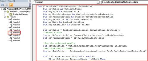 VBA Code - Quickly Create a Rule to Block the Senders of Multiple Emails