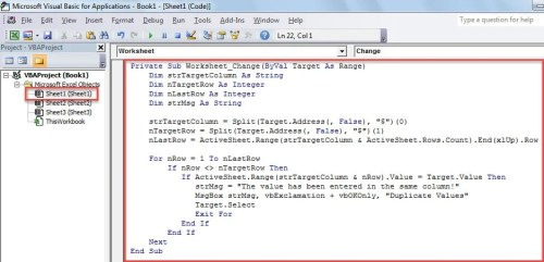 VBA Code - Prevent Duplicate Values in a Column