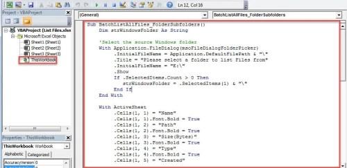 VBA Code - Recursively List Files in a Windows Folder