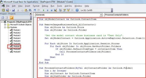 VBA Code - Batch Remove the Pictures in the Business Cards of All Contacts