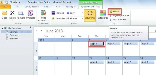 Change a Calendar Item to Private