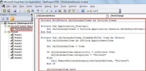 VBA Code - Auto Show Private Calendar Items in a Specific Color