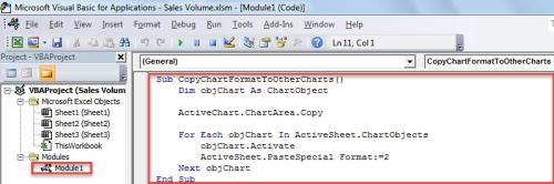 VBA Code - Batch Apply the Format of One Chart to the Others