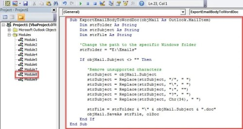 VBA Code - Auto Export the Specific Incoming Emails as Word documents