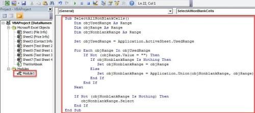 VBA Code - Select All Non-blank Cells