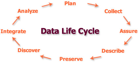 Data life cycle image with steps analyze plan collect assure describe preserve discover integrate analyze.