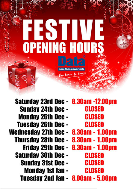 Data Cardiff Branch Christmas Opening Times
