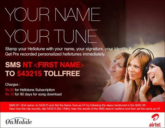Personalize Hello tune with Airtel Your Name Your Tune Service