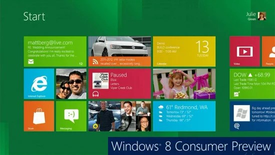 Microsoft Unveiled all new Windows 8 Consumer Preview - Available for Download